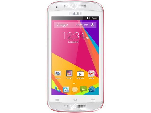 Blu Dash Music JR D390 White/Pink Dual-Core 1.3GHz Unlocked GSM Dual-SIM Android Phone