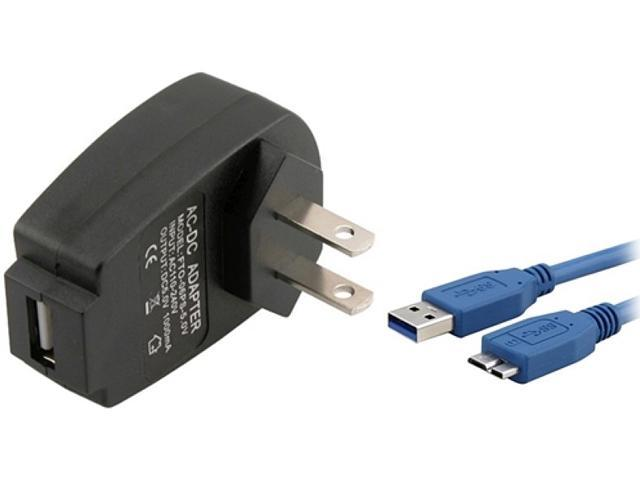 Insten 1457870 Black USB Travel Charger Adapter with 3FT SuperSpeed Micro USB 3.0 Charging Cable for Galaxy Note III