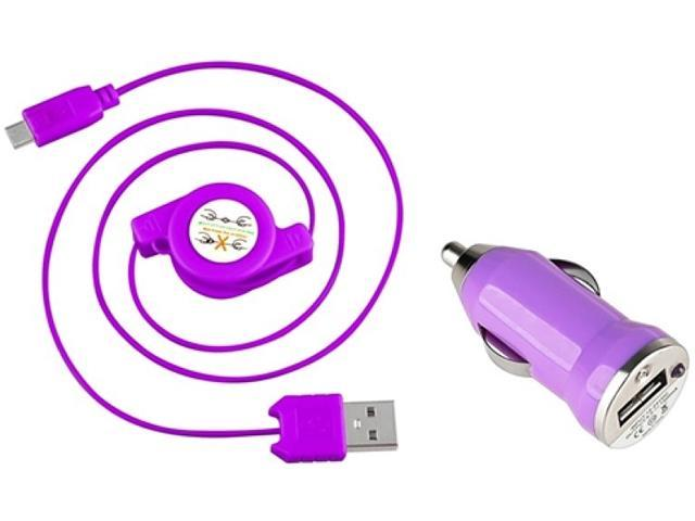 Insten 1542117 Purple USB Car Charger Adapter with 2-in-1 Micro USB Retractable Charging Data Cable