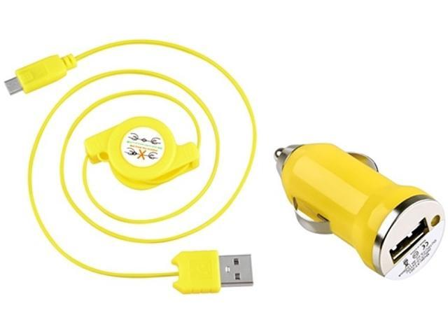 Insten 1542118 Yellow USB Car Charger Adapter with 2-in-1 Micro USB Retractable Charging Data Cable