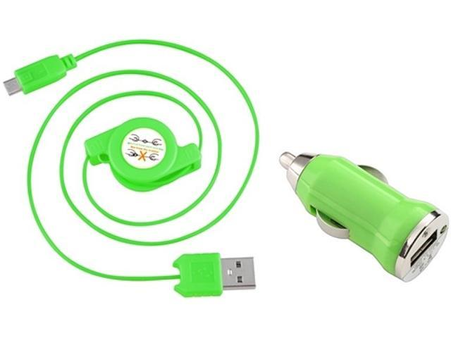 Insten 1542119 Green USB Car Charger Adapter with 2-in-1 Micro USB Retractable Charging Data Cable