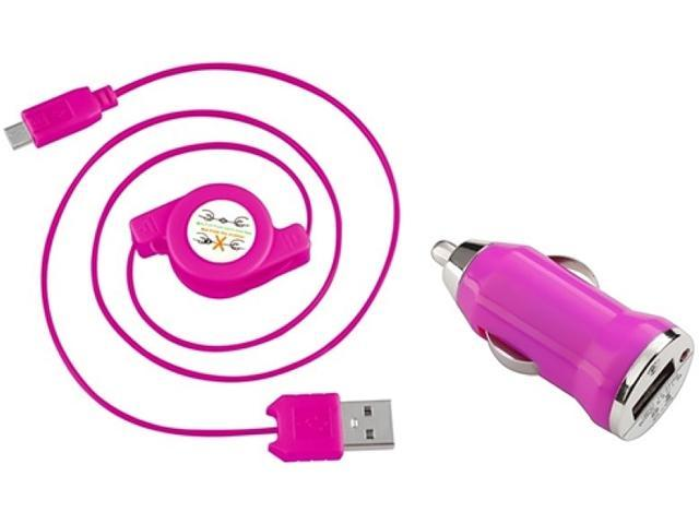 Insten 1542121 Hot Pink USB Car Charger Adapter with 2-in-1 Micro USB Retractable Charging Data Cable