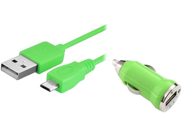 Insten 1542133 Green USB Car Charger Adapter with 10FT 2-in-1 Micro USB Charging Data Cable