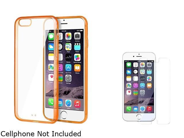 Insten Clear TPU / Orange Bumper Snap-in Case Cover + Clear Screen Protector for Apple iPhone 6 4.7