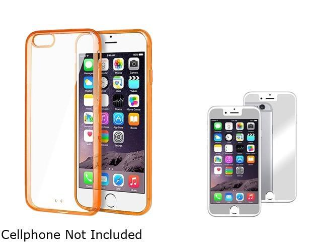 Insten Clear TPU / Orange Bumper Snap-in Case Cover + Mirror Screen Protector for Apple iPhone 6 4.7