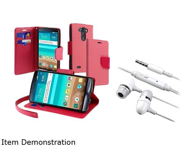 Insten Pink / Rose Red Wallet Leather Stand Case and White In-ear Stereo Headset For LG G3 D8551901044