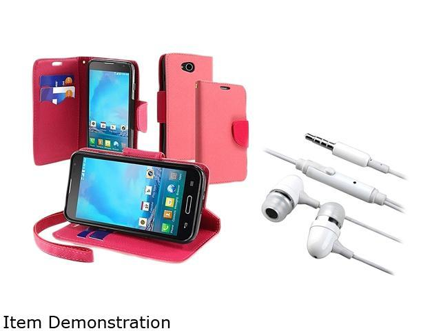 Insten Pink / Rose Red Wallet Leather Stand Case and White In-ear Stereo Headset For LG Optimus L901901062