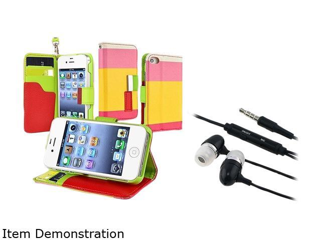 Insten Red / Yellow / Pink Leather Case + Black In-ear (w/on-off) Stereo Headsets compatible with Apple iPhone 4 / 4S