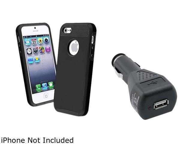 Insten Black Hybrid Black TPU / Black Hard Case + Car Charger Adapter compatible with Apple iPhone 5