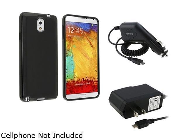 Insten Black Jelly TPU Case with Travel Charger + Car Charger Compatible with Samsung Galaxy Note 3 N9000 1457895