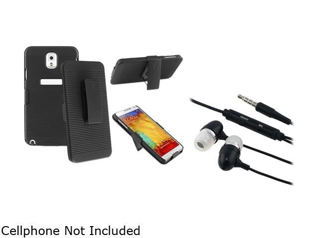 Insten Black Swivel Holster with Stand Case with Black In-ear (w/on-off) & Mic Stereo Headsets for Galaxy Note 3 1566776