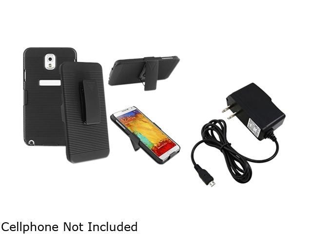 Insten Black Swivel Holster with Stand Case with 1 Travel/Wall Charger Compatible with Samsung Galaxy Note 3 1566781