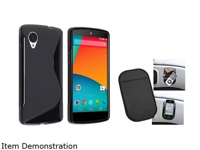 Insten Black S Shape TPU Rubber Case and Magic Sticky Anti-Slip Mat Compatible with LG Nexus 5 E980 1593937