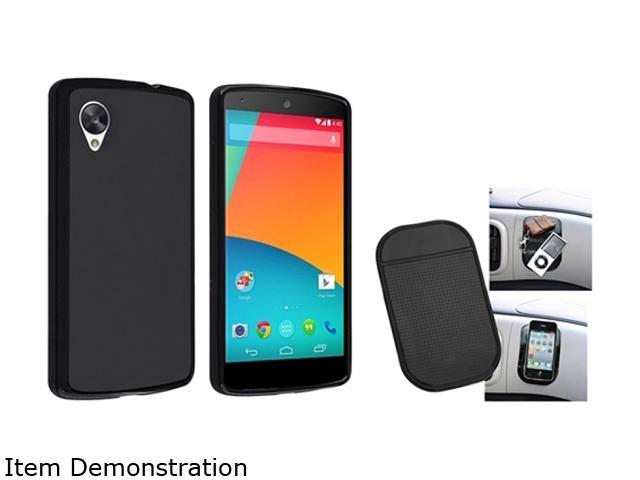 Insten Black Jelly TPU Rubber Case and Magic Sticky Anti-Slip Mat Compatible with LG Nexus 5 E980 1593946