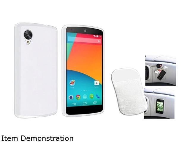 Insten White Jelly TPU Rubber Case and Magic Sticky Anti-Slip Mat Compatible with LG Nexus 5 E980 1593982