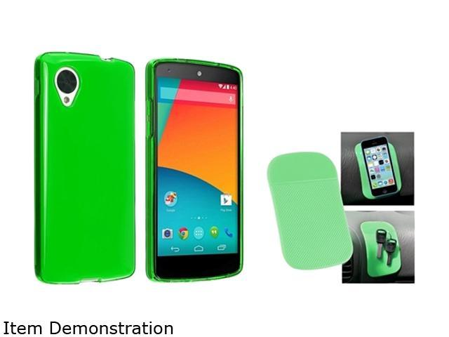 Insten Neon Green TPU Case and Magic Sticky Anti-Slip Mat Compatible with LG Nexus 5 E980 1594022