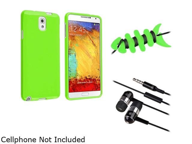 Insten Green Jelly TPU Case + Green Fishbone Headset Smart Wrap + Black / Chrome Silver In-ear (w/ on-off) Stereo Headsets Compatible with ...