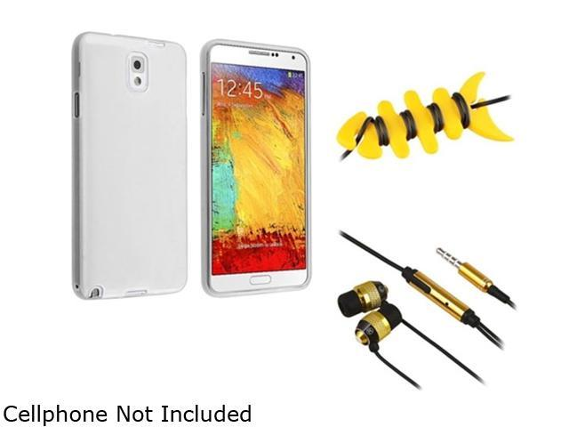 Insten Clear TPU Case + Yellow Fishbone Headset Smart Wrap + Gold / Black In-ear (w/ on-off) Stereo Headsets Compatible with Samsung Galaxy Note ...
