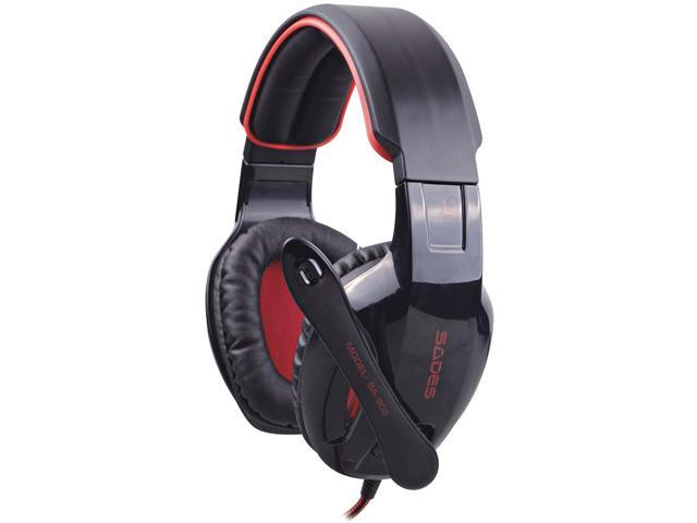 Sades Black/Red PC Gaming Headset w/ Microphone + Volume Control SA-902