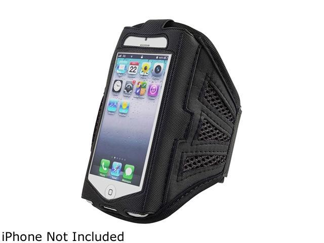 Insten Black/Black Deluxe ArmBand compatible with Apple iPhone 5 / 5C / 5S 1401125