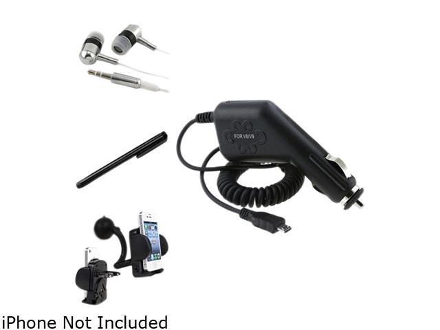Insten Holder + Charger + Headset + Black Stylus Compatible with Samsung Galaxy S3 S4 i9500 i9300 i535