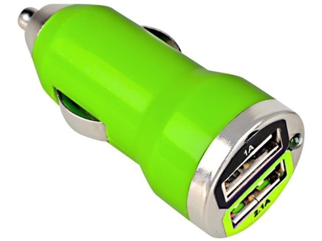 Insten Dual USB Mini Car Charger Adapter Compatible with Blackberry Z10, Green