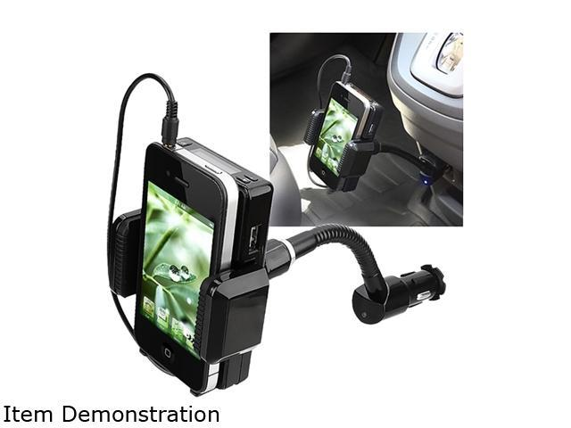 Insten All-in-One FM Transmitter w/ 3.5-mm Audio Cable and Mic Compatible with HTC One M7, Black
