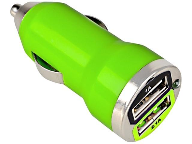 Insten Dual USB Mini Car Charger Adapter, Green