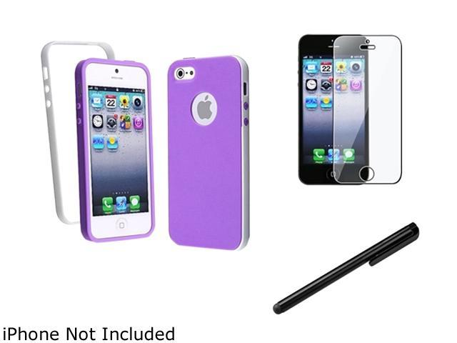 Insten Dark Purple/White Bumper TPU Rubber Case + Reusable Screen Protector + Black Touch Screen Stylus Compatible With Apple iPhone 5