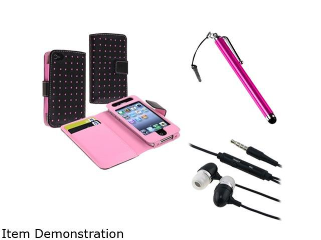 Insten Black/Pink Dot Wallet Leather Case + Pink Touch Screen Stylus + Black 3.5mm In-Ear Stereo Headset w/On-off & Mic Compatible With Apple ...