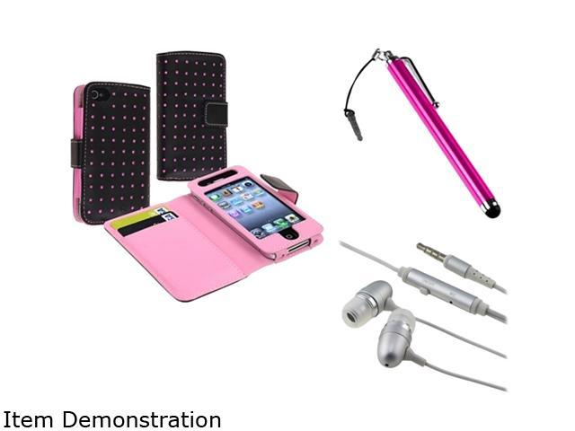 Insten Black/Pink Dot Wallet Leather Case + Pink Touch Screen Stylus + Silver/White 3.5mm In-Ear Stereo Headset w/On-off & Mic Compatible With ...