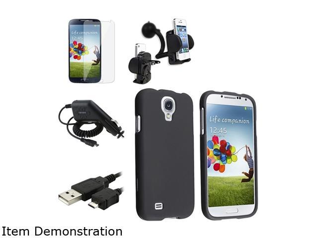 Insten Black Hard Case + Clear LCD Screen Protector + Charger + USB Cable + Mount Compatible with Samsung Galaxy SIV S4 i9500