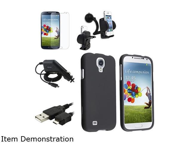 Insten Black Hard Case + Matte LCD Screen Protector + Charger + USB Cable + Mount Compatible with Samsung Galaxy SIV S4 i9500