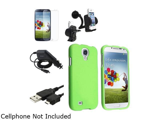 Insten Green Hard Case + Matte LCD Screen Protector + Charger + USB Cable + Mount Compatible with Samsung Galaxy SIV S4 i9500
