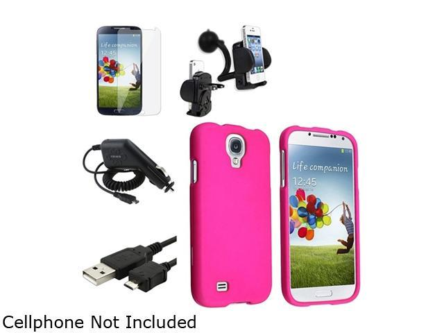 Insten Pink Hard Case + Clear LCD Screen Protector + Charger + USB Cable + Mount Compatible with Samsung Galaxy SIV S4 i9500
