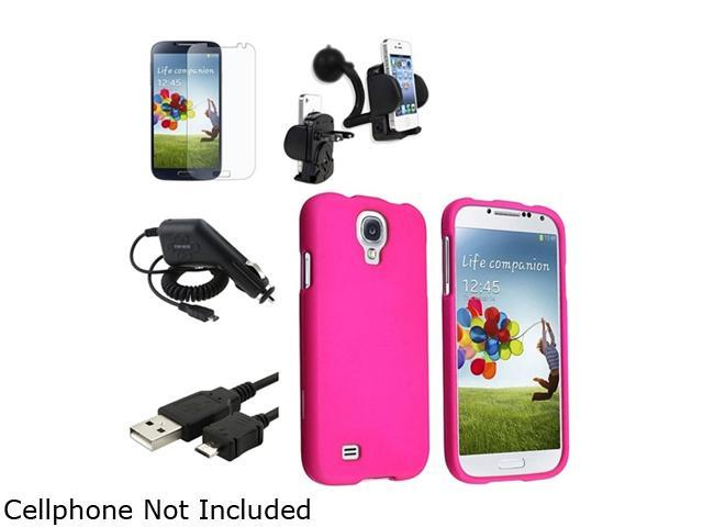 Insten Pink Hard Case + Matte LCD Screen Protector + Charger + USB Cable + Mount Compatible with Samsung Galaxy SIV S4 i9500