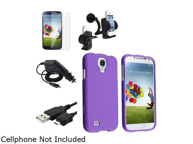 Insten Purple Hard Case + Clear LCD Screen Protector + Charger + USB Cable + Mount Compatible with Samsung Galaxy SIV S4 i9500