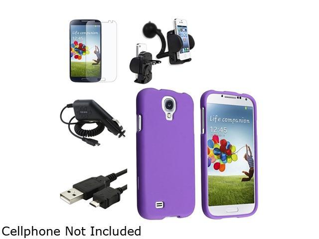 Insten Purple Hard Case + Matte LCD Screen Protector + Charger + USB Cable + Mount Compatible with Samsung Galaxy SIV S4 i9500