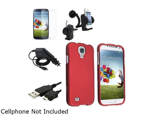 Insten Red Hard Case + Matte LCD Screen Protector + Charger + USB Cable + Mount Compatible with Samsung Galaxy SIV S4 i9500