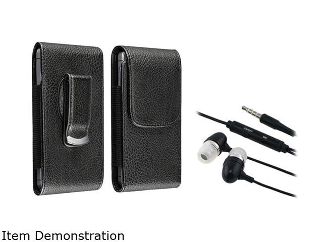 Insten Black Universal 3.5mm In-Ear Stereo Headset w/ On-off & Mic+black w/ black stitching Leather Phone Case with Magnetic Flap Compatible With ...