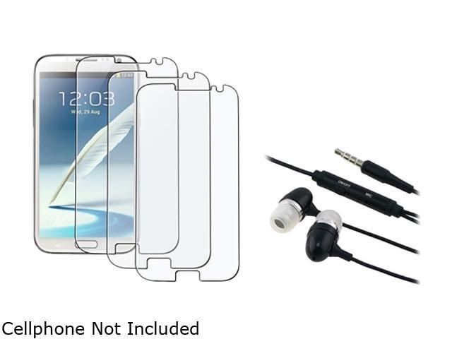 Insten Black Universal 3.5mm In-Ear Stereo Headset w/ On-off & Mic+3-Pack Anti-Glare Screen Protector Compatible With Samsung Galaxy Note II N7100