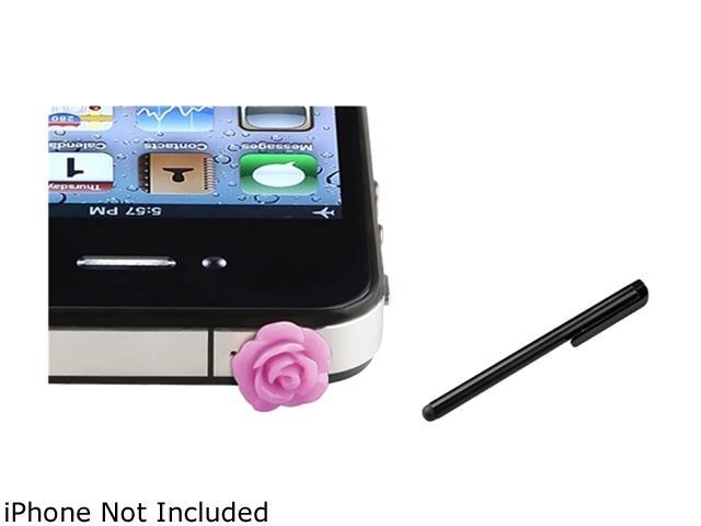Insten Purple Rose Universal Headset Dust Cap+Black Universal Touch Screen Stylus Compatible With Samsung LG Nokia