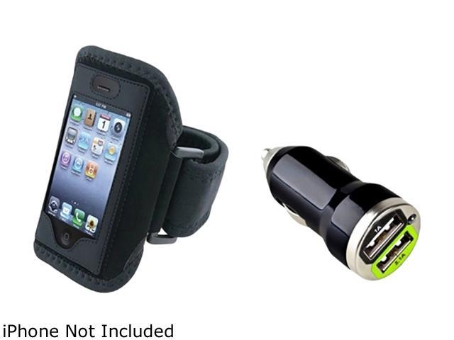 Insten Black Deluxe ArmBand+Black Universal Dual USB Mini Car Charger Adapter Compatible With Apple iPhone 4 4S