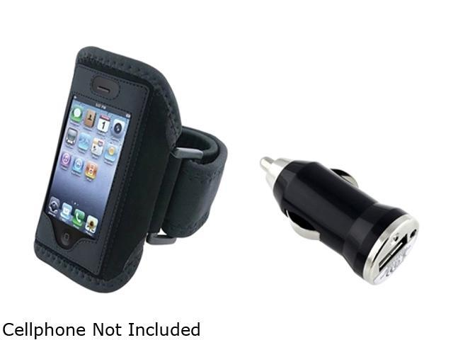 Insten Black Deluxe ArmBand+Black Universal USB Mini Car Charger Adapter Compatible With Apple iPhone 4 4S