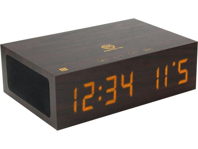 GOgroove GGBSTYM200BDUS Bluetooth Wireless Stereo Speaker & Wooden Alarm Clock