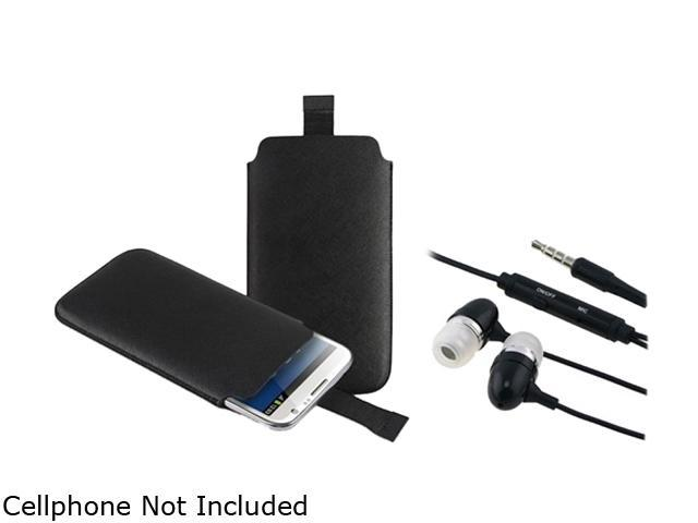 Insten Black Pull Leather Pouch Case And Black In-ear (w/on-off) Stereo Headsets for Samsung Galaxy Note 2 N7100 1051558