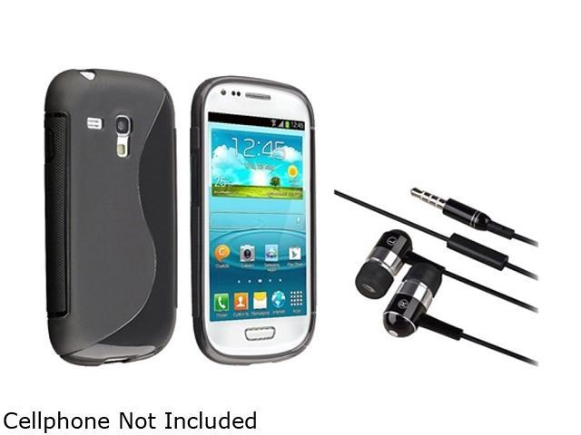 Insten Black S Shape TPU Rubber Case + Black / Chrome Silver In-ear (w/on-off) & Mic Stereo Headsets Compatible with Samsung Galaxy S III Mini ...