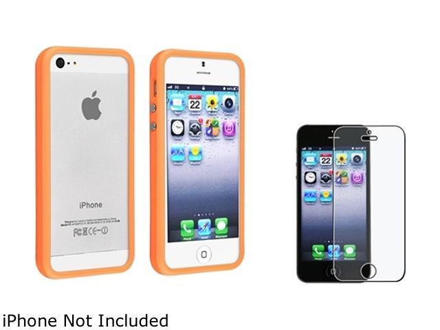 Insten Orange Aluminum Button Cover Bumper TPU Case Cover + Anti-Glare Screen Protector Compatible With Apple iPhone 5 / 5s 803700