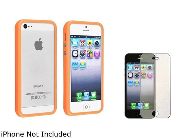 Insten Orange Aluminum Button Cover Bumper TPU Case Case And Colorful Diamond Screen Protector for Apple iPhone 5 / 5s 803705