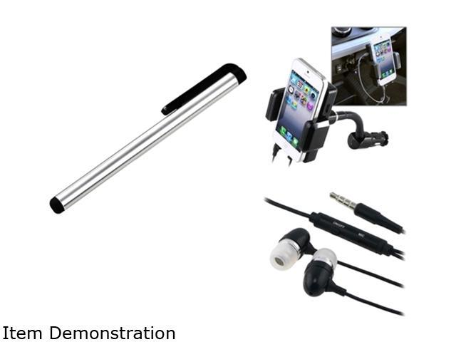 Insten Black 3.5mm In-Ear Stereo Headset w/On-off & Mic + All-in-1 FM Transmitter w/3.5mm Audio Cable + Silver Touch Screen Stylus for Motorola ...